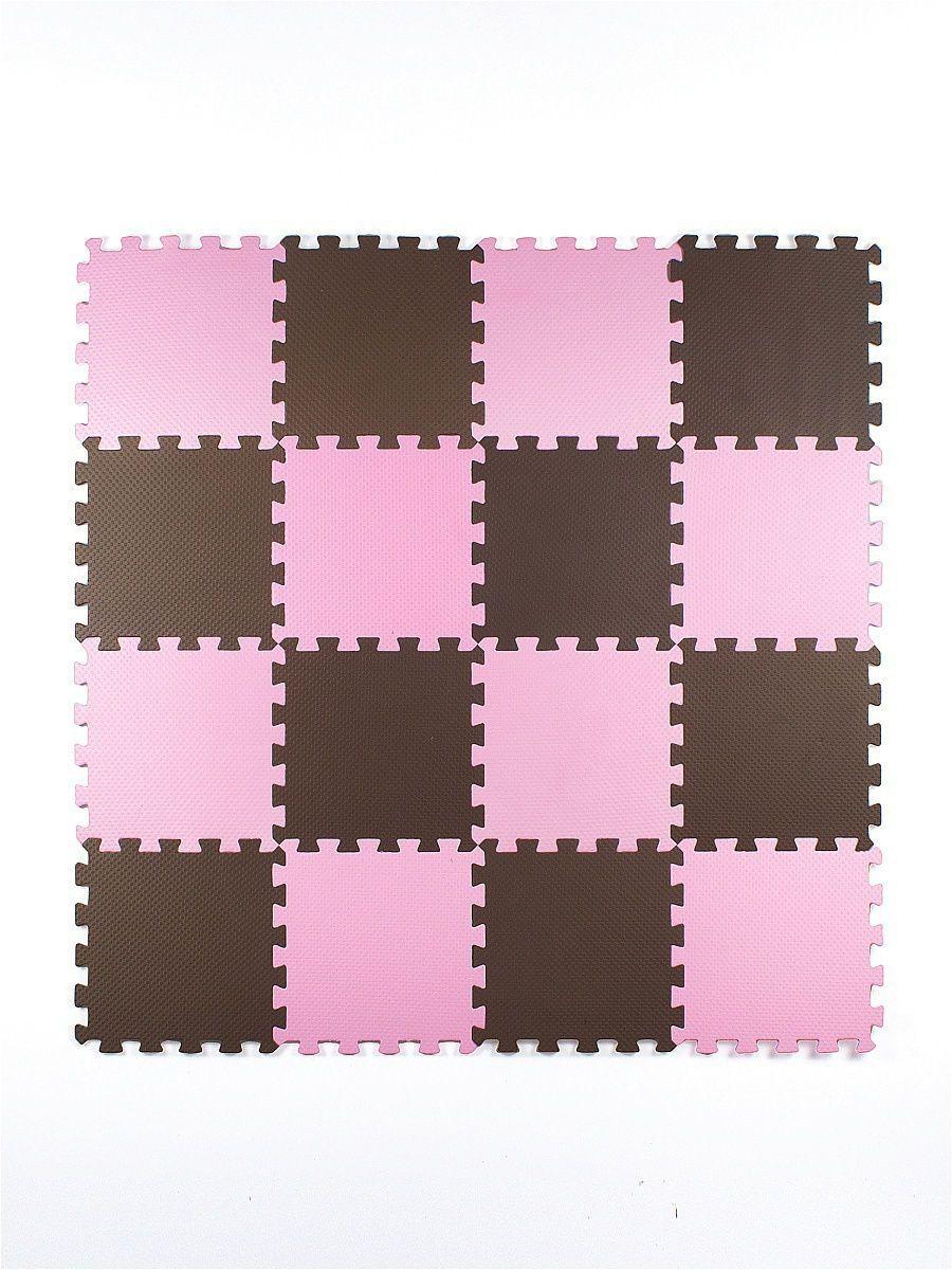 Мягкий пол универсальный 25*25 (см), розово-коричневый, 16 дет.