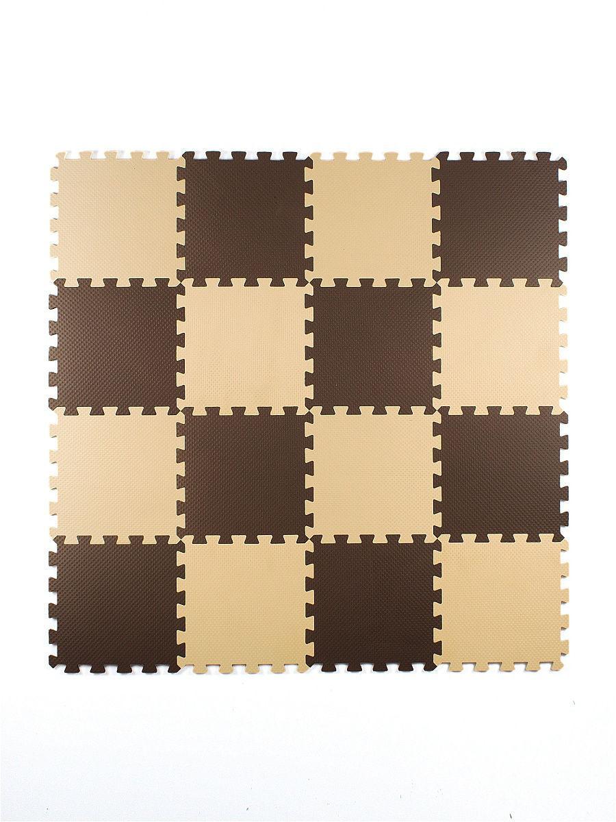 Мягкий пол универсальный 25*25 (см), бежево-коричневый, 16 дет.