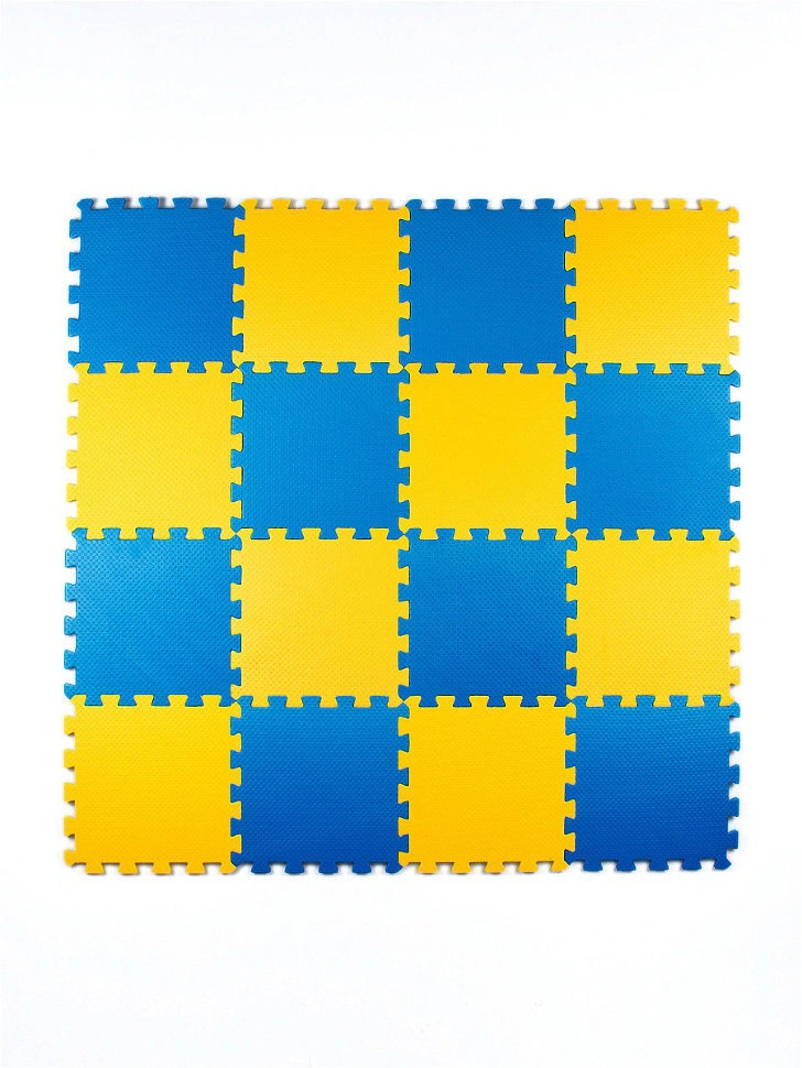 Мягкий пол универсальный 25*25 (см), Желто-синий, 16 дет.