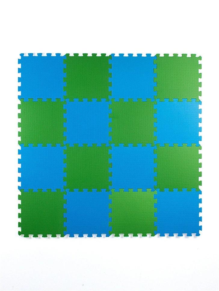Мягкий пол универсальный 25*25 (см), Сине-зеленый, 16 дет.