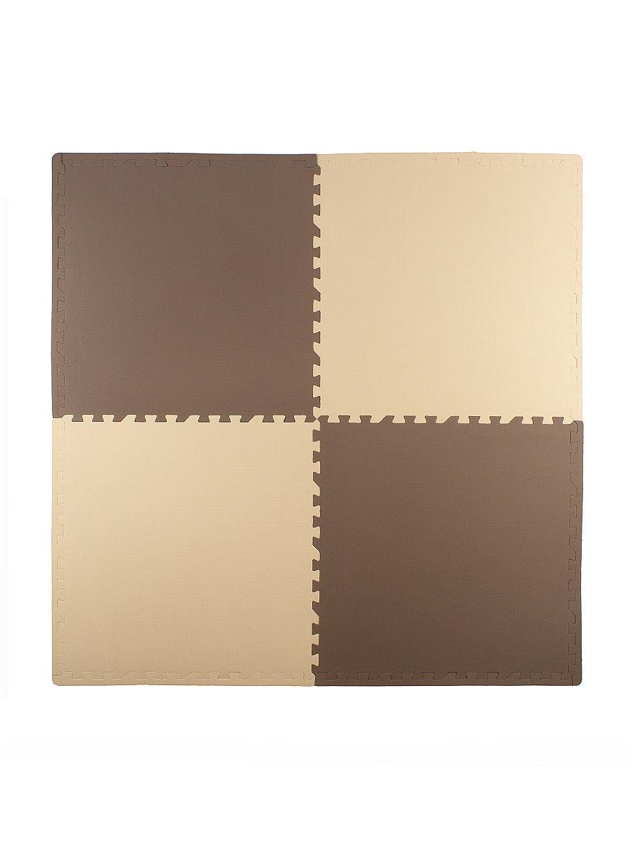 Мягкий пол универсальный 60*60 см, 4 дет., бежево-коричневый