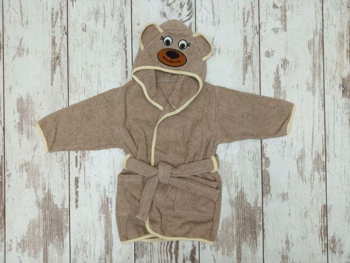 Халат банный с капюшоном махра V-XA033(k)-MA / цвет коричневый