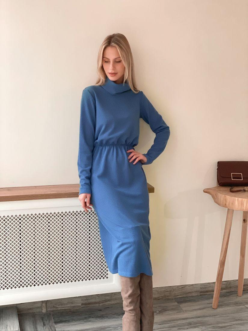 s2961 Платье-свитер голубое