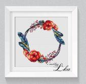 """Poppy wreath"". Digital cross stitch pattern."