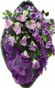 Ритуальный венок из искусственных цветов - Элит #47 фиолетовый из роз, каллы и зелени