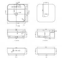 Раковина Cielo Shui Comfort SHCOLAQF накладная или подвесная 44х43 схема 1