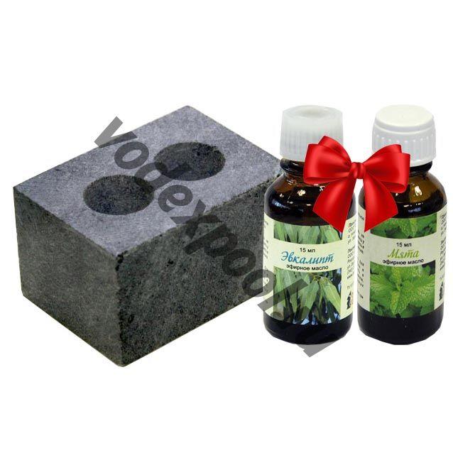 Испаритель из натурального камня талькохлорит, 2 отверстия