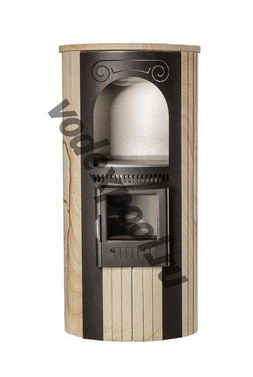 Печь Ферингер отопительно-варочная «Лада» в облицовке «Ламель» - Окаменевшее дерево