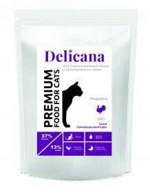 Delicana Сухой полнорационный корм для стерилизованных кошек и кастрированных котов с индейкой, 400 гр