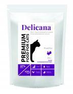 Delicana Сухой полнорационный корм для стерилизованных кошек и кастрированных котов с индейкой, 8 кг