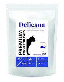 Delicana Сухой корм для стерилизованных кошек и кастрированных котов с лососем, 400 гр