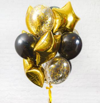 Набор шаров из 5 золотых звезд, 6 черных и 4 прозрачных шаров с конфетти