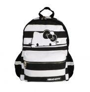 Рюкзак HELLO KITTY, разм.40х30х14 см, черно-белая полоска, мягкая спинка, из хлопковой ткани;