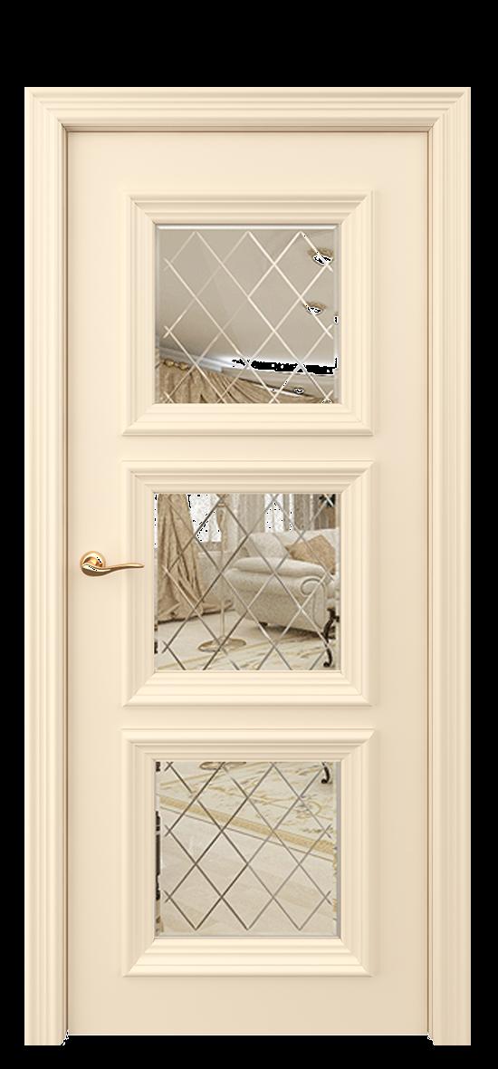 Межкомнатная дверь ДЕРБИ рефлективное стекло с гравировкой и фацетом