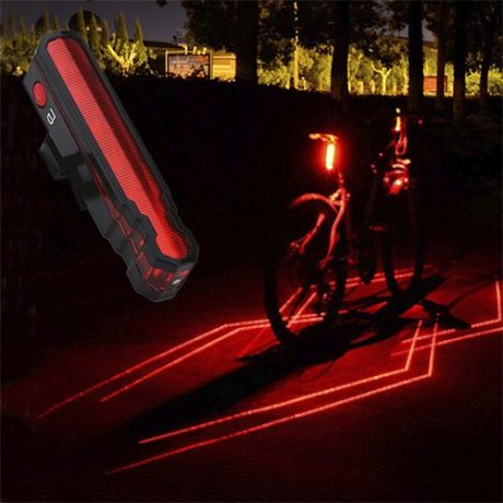 Задняя велосипедная фара Bicycle Laser Polyline Tail Light LD-51, USB