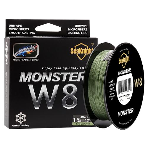 Плетеная рыболовная леска SeaKnight Monster W8, 500 м., 15 LB. Цвет: темно-зеленый.