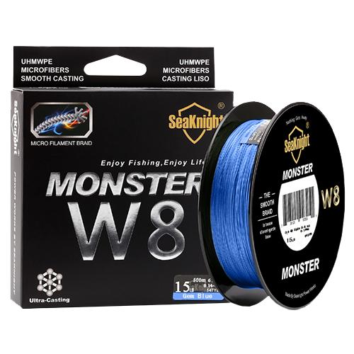 Плетеная рыболовная леска SeaKnight Monster W8, 500 м., 15 LB. Цвет: синий.
