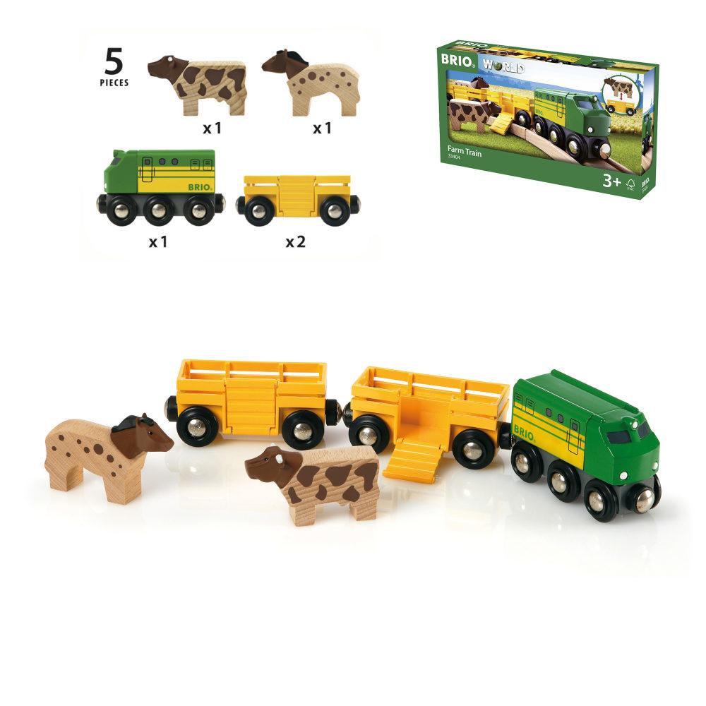BRIO 3 грузовых вагона с животными, 5 элементов