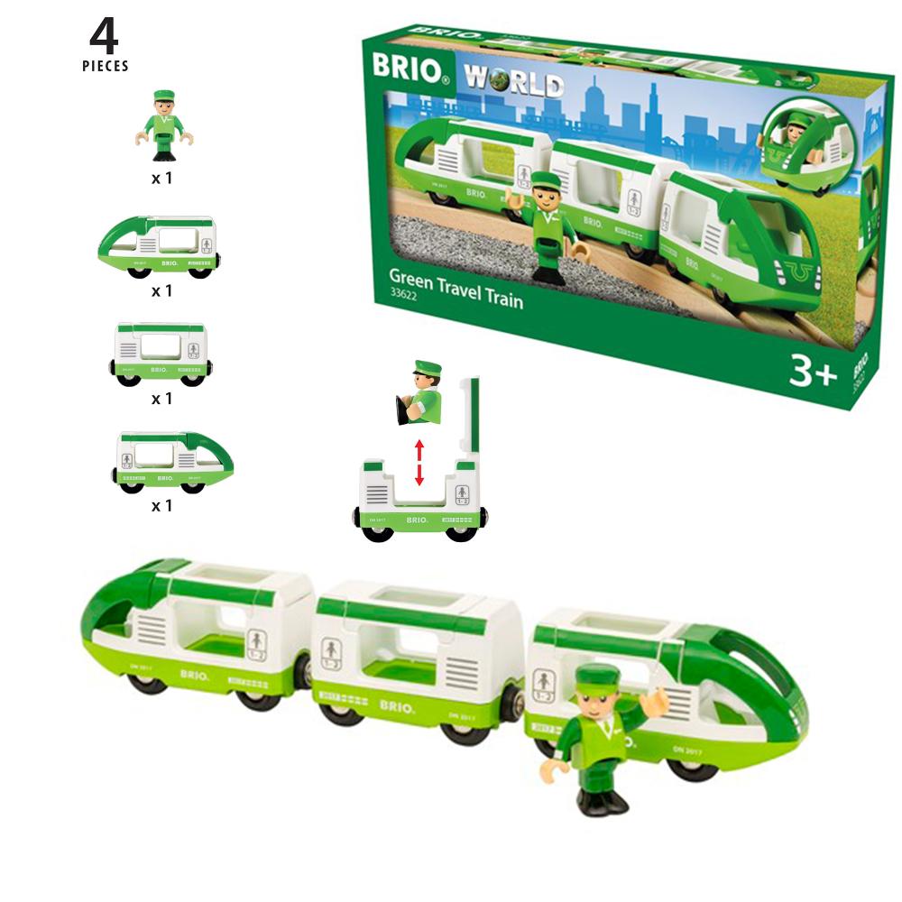 BRIO Набор зелёный поезд (3 вагона) 29,2*3,7*5 см. и машинист, размер упаковки 27*15*5 см., кор.