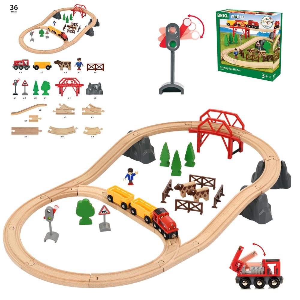 BRIO Подарочный игровой набор «Поездка по сельской местности с мостом»