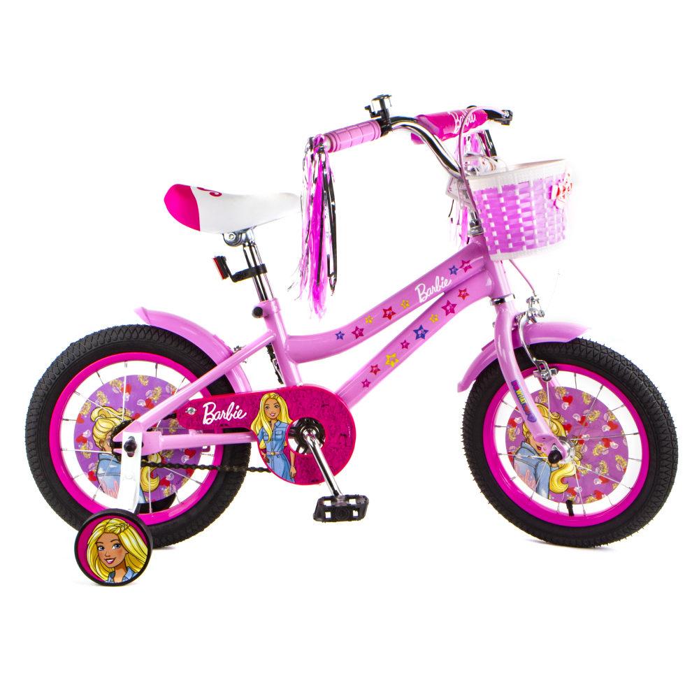 """Детский велосипед Barbie, колеса 14"""", стальная рама, стальные обода, ножной тормоз, защитная накладка на руле и выносе, корзина на руле, крылья, звоно"""
