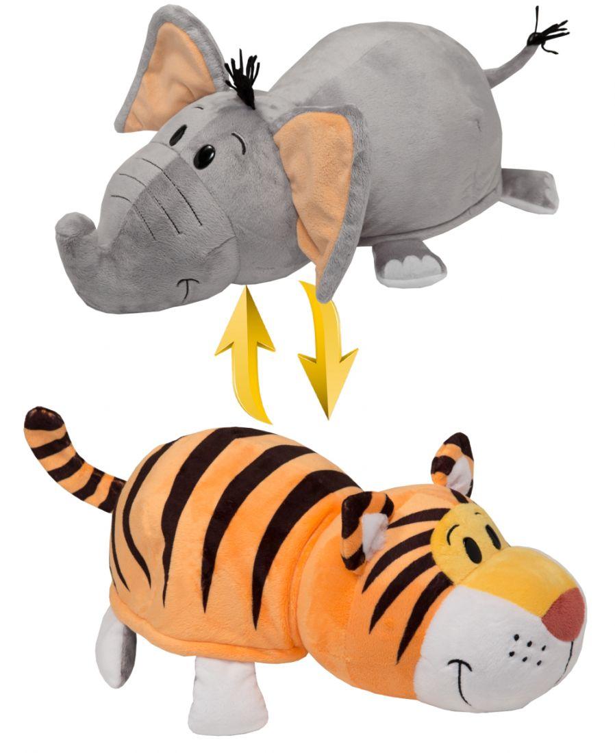 """Мягкая игрушка """"Вывернушка"""" 2 в 1 1 TOY - Тигр-Слон, 35 см"""