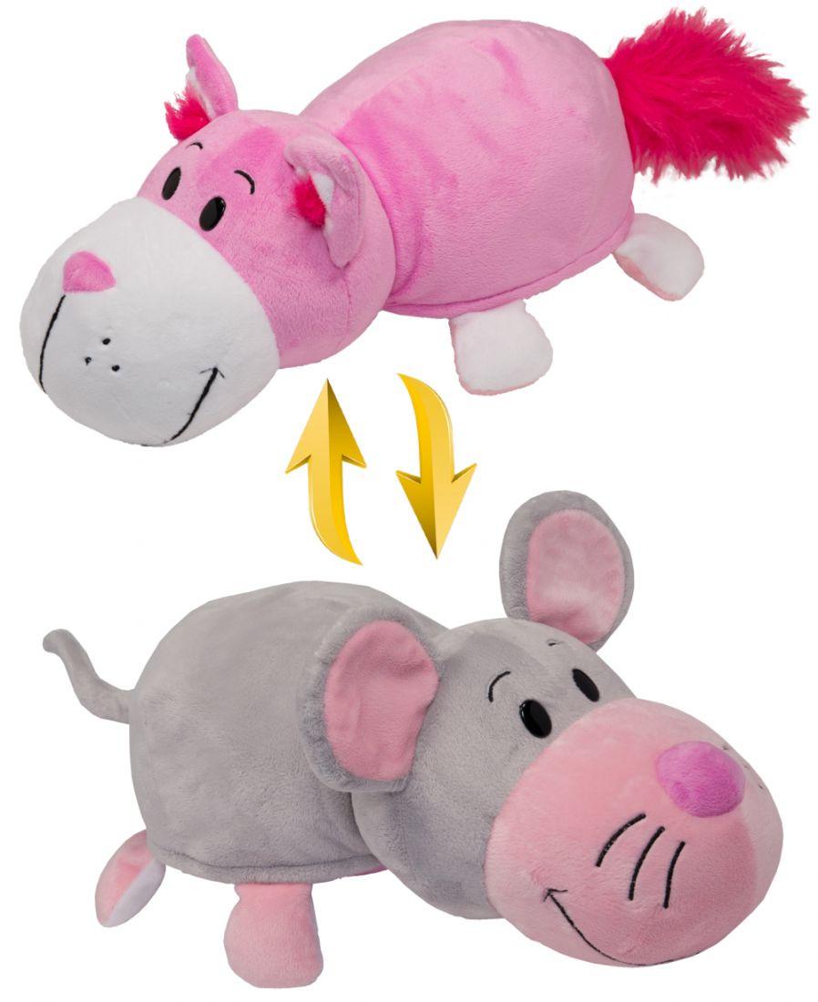 1toy плюш.Вывернушка 35 см 2в1 Розовый кот-Мышка,пакет