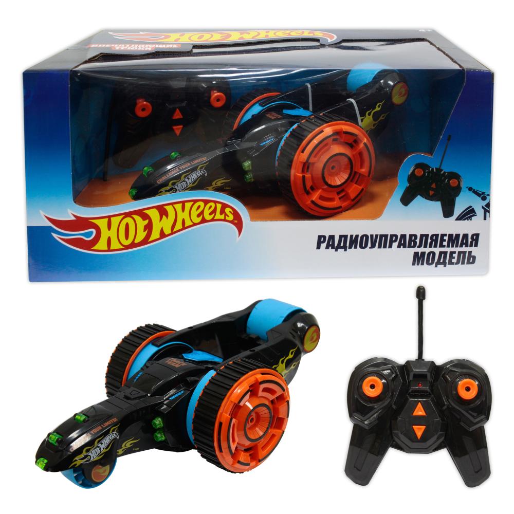 Hot Wheels трюковая трёхколёсная машина-перевёртыш на р/у, 27MHz, вращение на 360°, со светом, c АКБ, чёрная