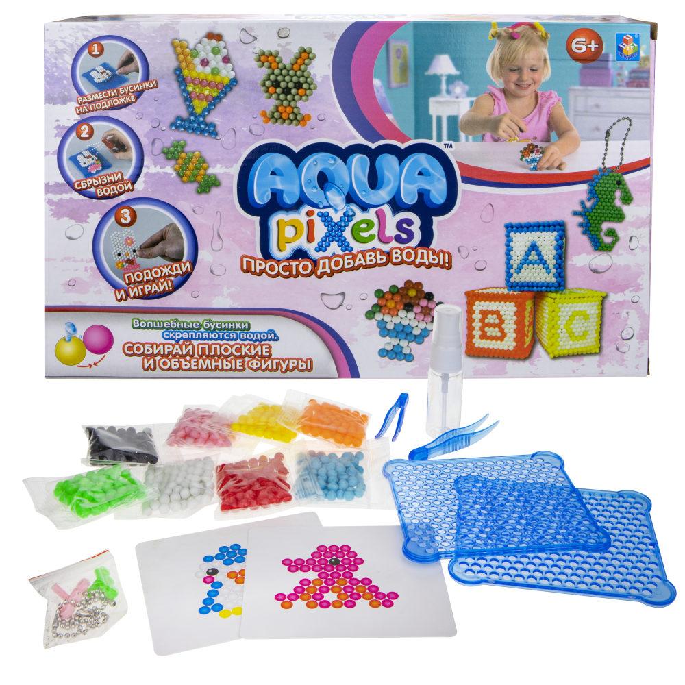 """1toy Набор для творчества Aqua pixels, 600 деталей, """"Веселые животные"""""""