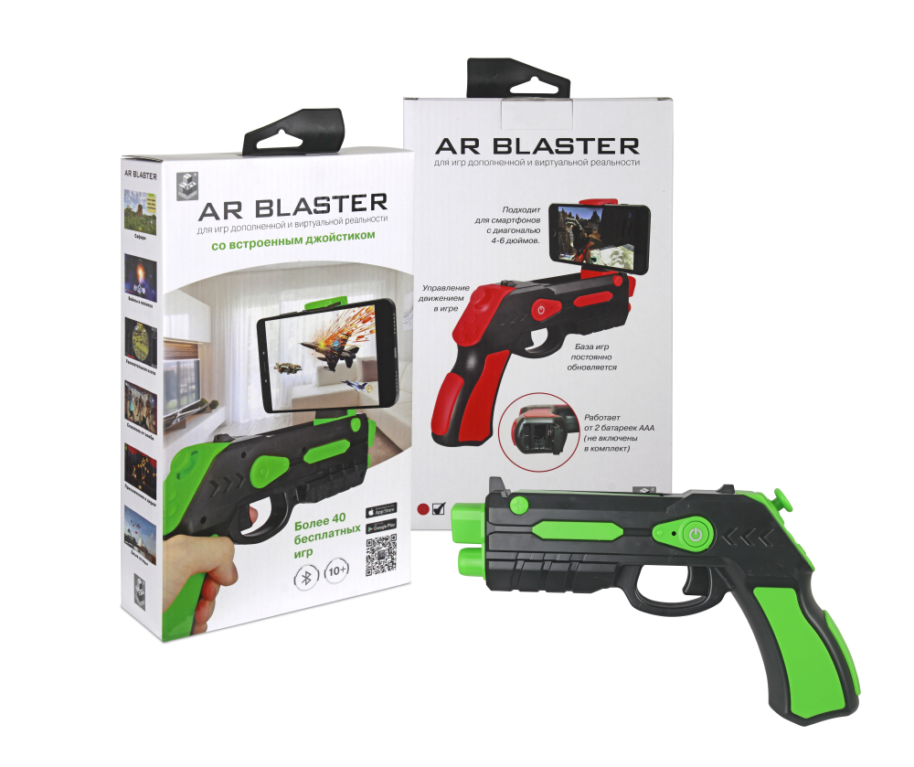 1toy Интерактивное оружие AR Blaster, соединение Bluetooth, работает от батареек ААА (не в комплекте), 2 цв. в асс., игра через приложение (AR Gun Pro