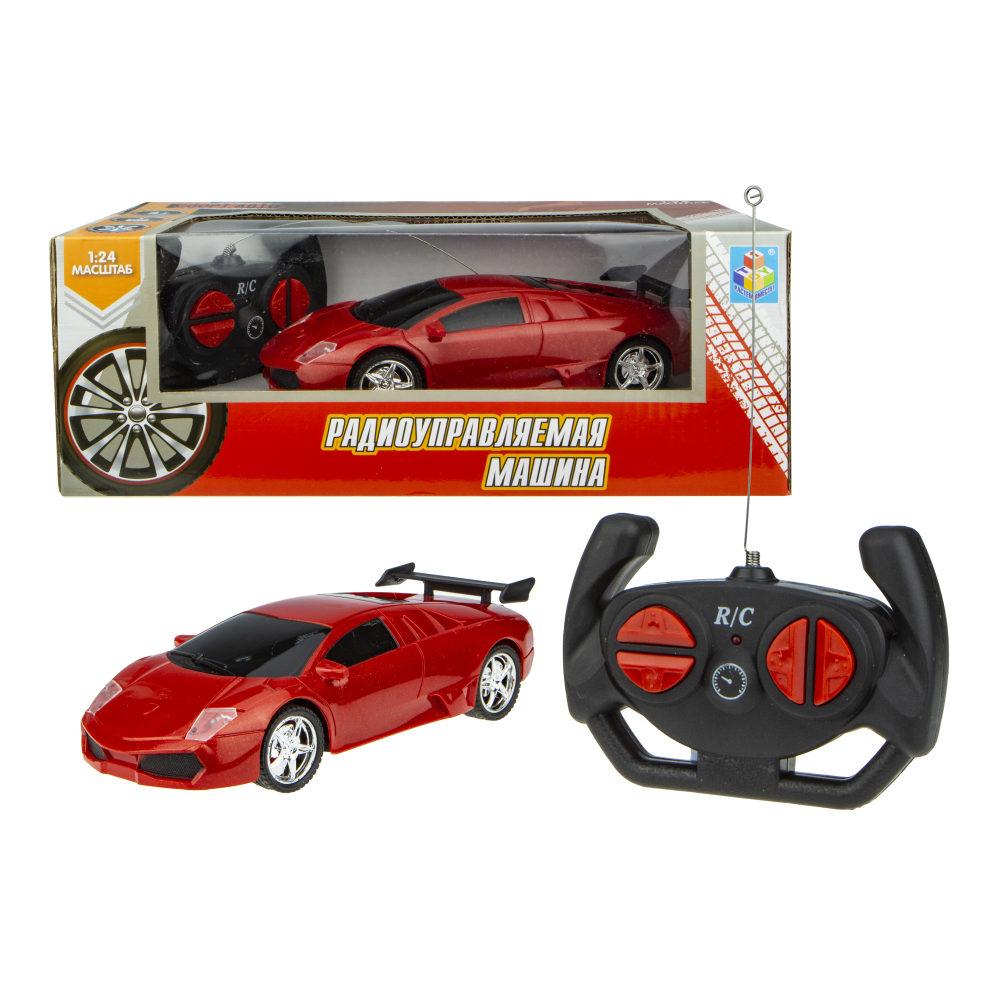 1toy Спортавто Машина на радиоуправлении, 1:24, 27 МГц, 20 см, на батарейках, 2 канала: движение вперед и назад (разворот)