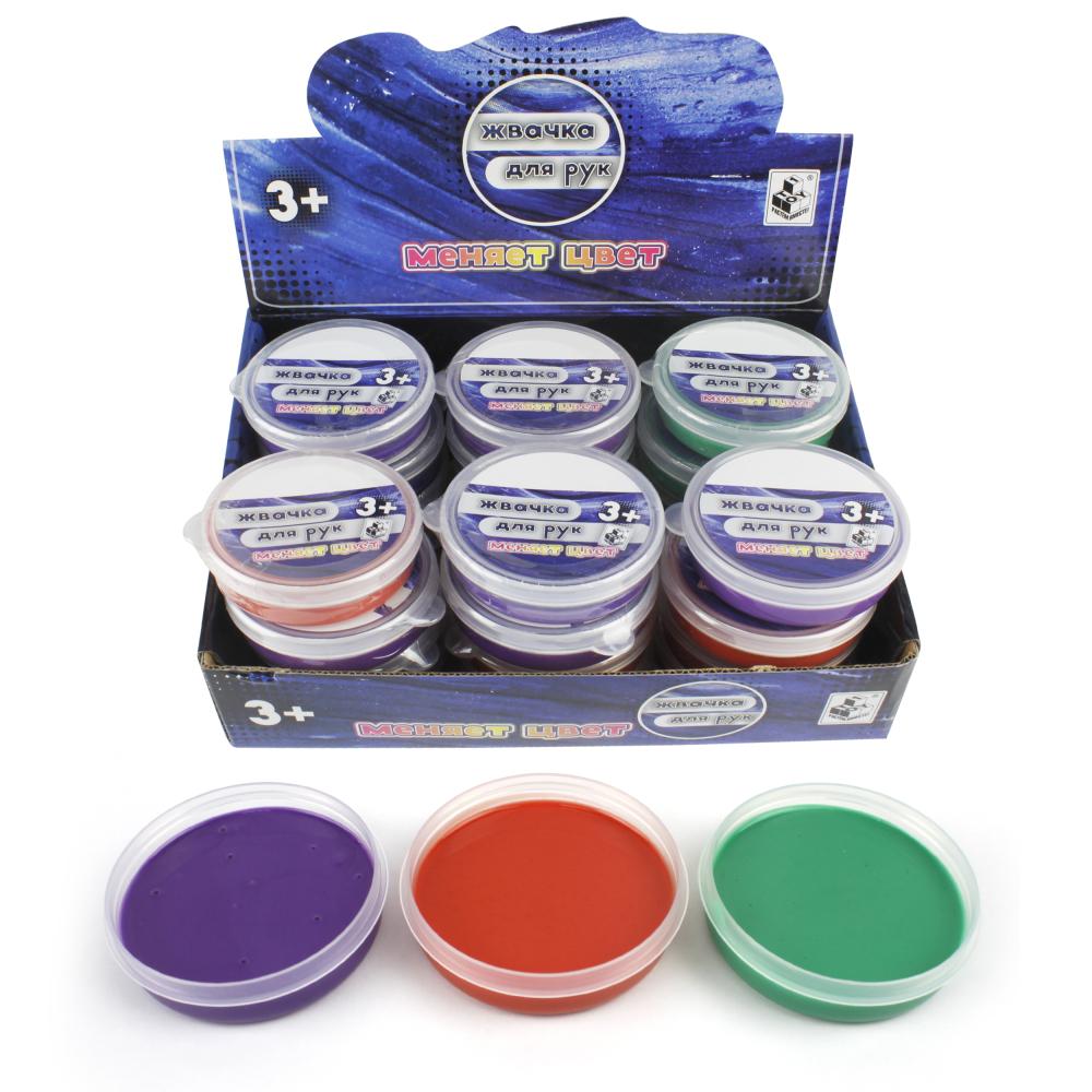 1toy Жвачка для рук, 30гр, 4 цвета, меняет цвет от тепла, упаковка - пластик