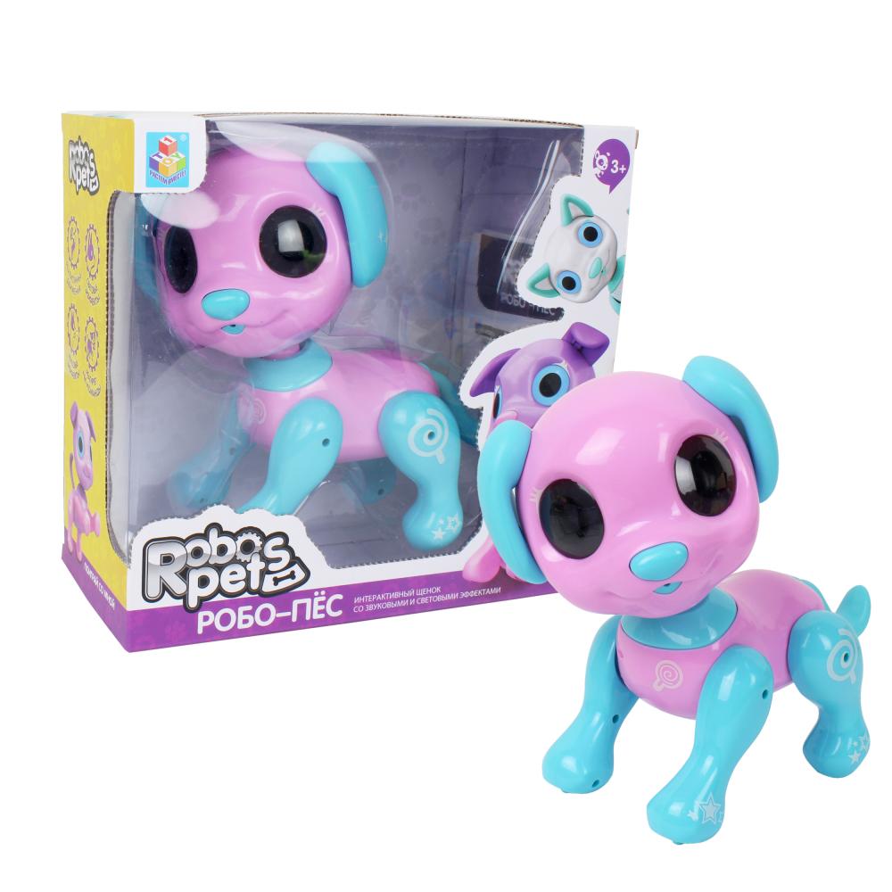 1 toy, интерактивная игрушка Робо- пёс розовый, 3* ААА бат ( не входят), коробка с окном 24,5*23*11 см