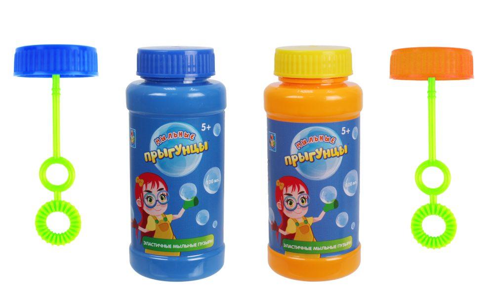 1toy Прыгунцы, бутылка с раствором для эластичных мыльных пузырей (венчик внутри), 100мл.