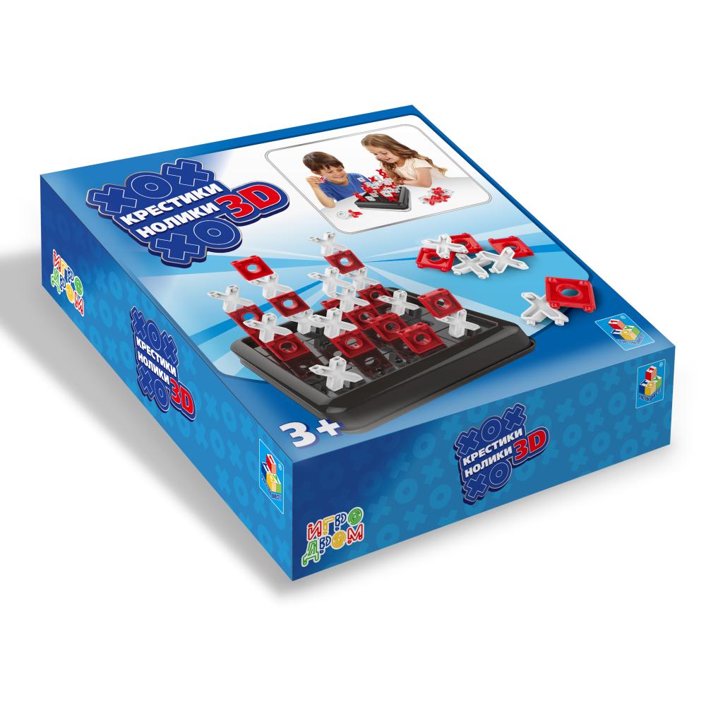 1toy ИГРОДРОМ Игра крестики-нолики 3D, размер 22*21*5,6 см