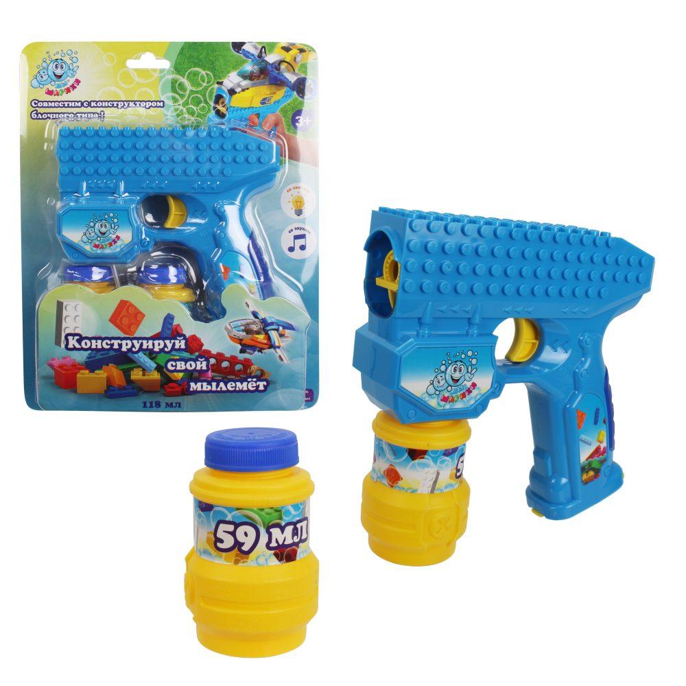 1toy Мы-шарики! пистолет на батар. совместимый с блочными конструкторами , с мыл. пузыр.,свет, звук, бут. 2 *59 мл, блистер,