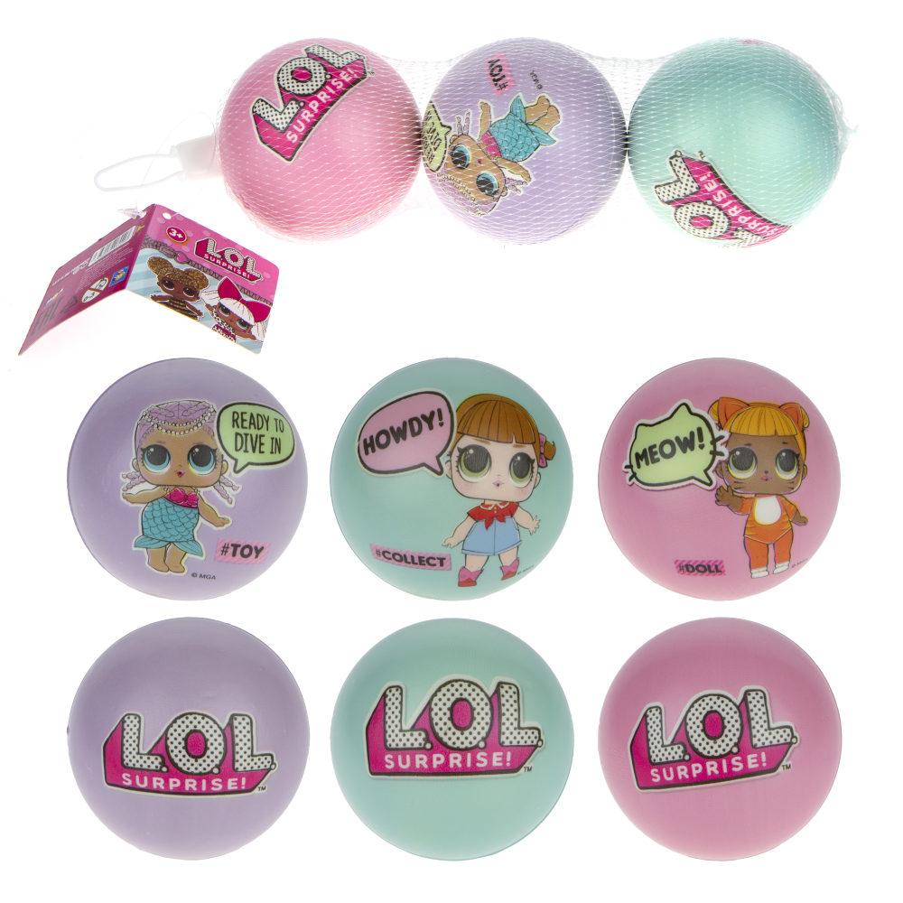 1toy LOL мячики PU с принтом , 7,5 см., 3шт. в сетке