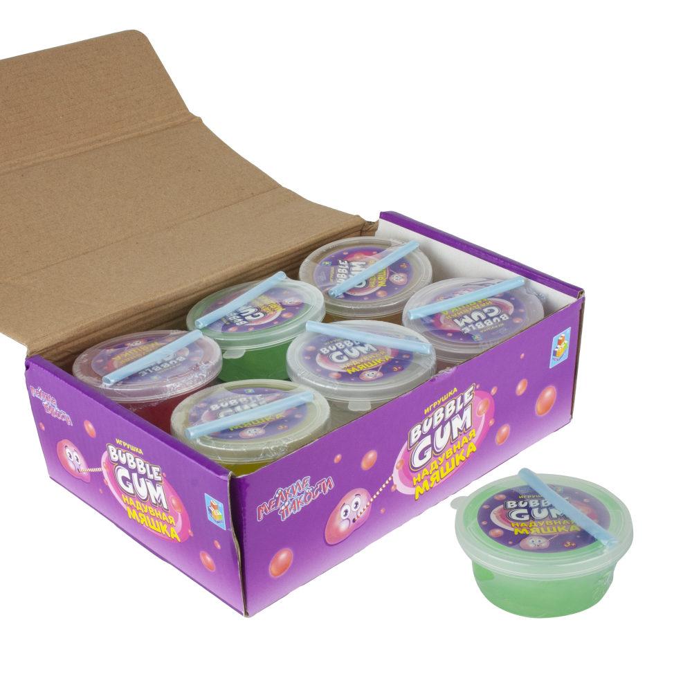 1toy мелкие пакости мяшка Bubble gum (надувается) 6,5х2.7см,50 гр.,12шт д/б