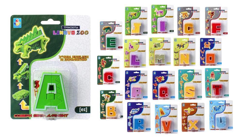 1toy Трансботы Lingvo Zoo, 26 букв от A до Z,блистер