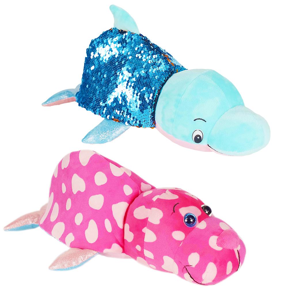 1TOY Вывернушка БЛЕСК с паетками 30 см Дельфи-Морж,бирка,пакет