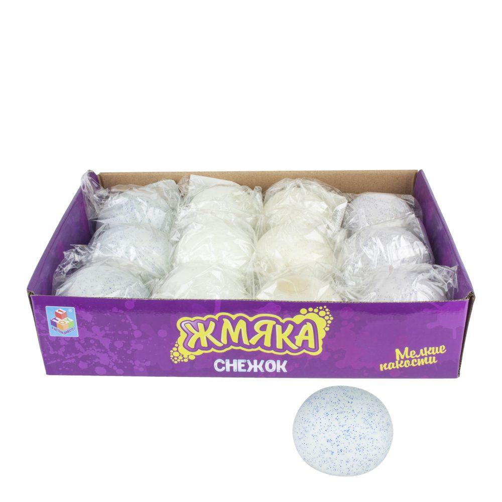 1toy Мелкие пакости, жмяка снежок (хрустит) 7 см, 12 шт д/б