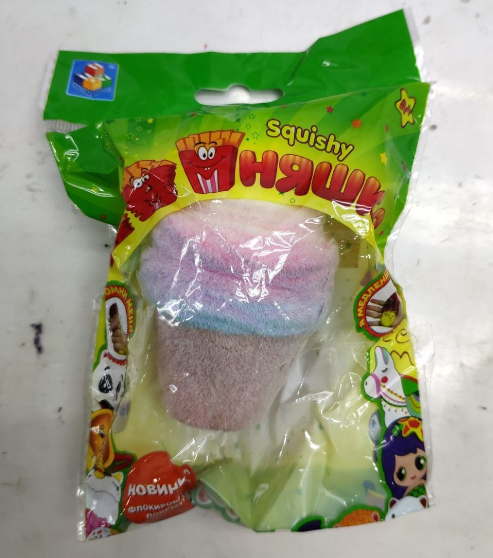 1toy игрушка-антистресс мммняшка флок squishy (сквиши) мороженое рожок, 25гр, 10х6см