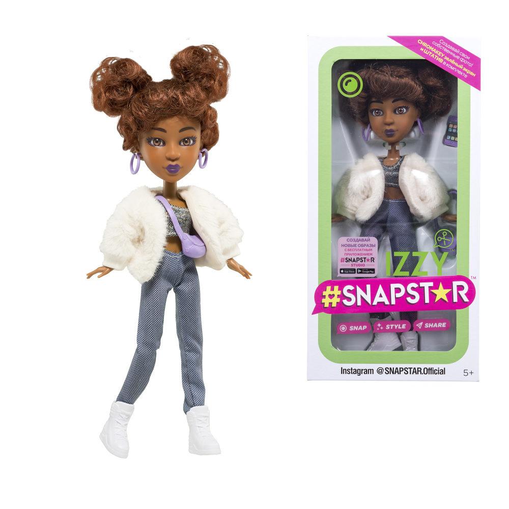 Кукла SnapStar Izzy 23 см. с аксессуарами, подставкой и зелёным экраном, кор. с окошком 13х7х26 см.