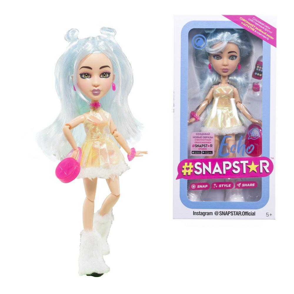 Кукла SnapStar Echo 23 см. с аксессуарами, подставкой и зелёным экраном, кор. с окошком 13х7х26 см.