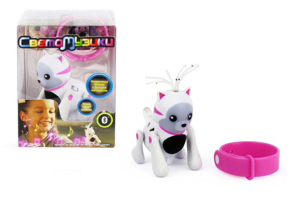 1Toy Светомузики интерактивный Котёнок, со звуком, с функцией воспроизведения звука через Bluetooth, с ремешком, зарядка от USB 5V, в ПВХ-коробочке 9,