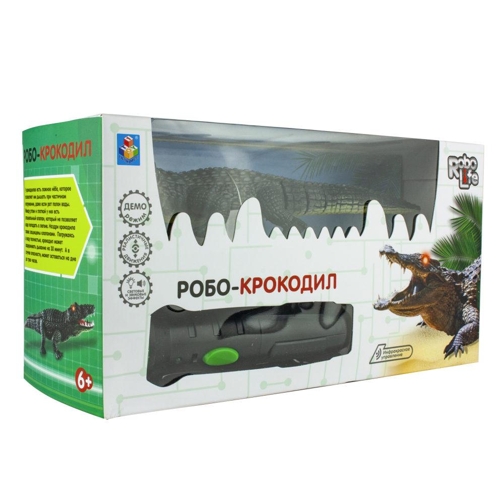 1Toy игрушка Робо-Крокодил на ИК пульт управ (звук, свет, движение), кор. 14*26*10 см