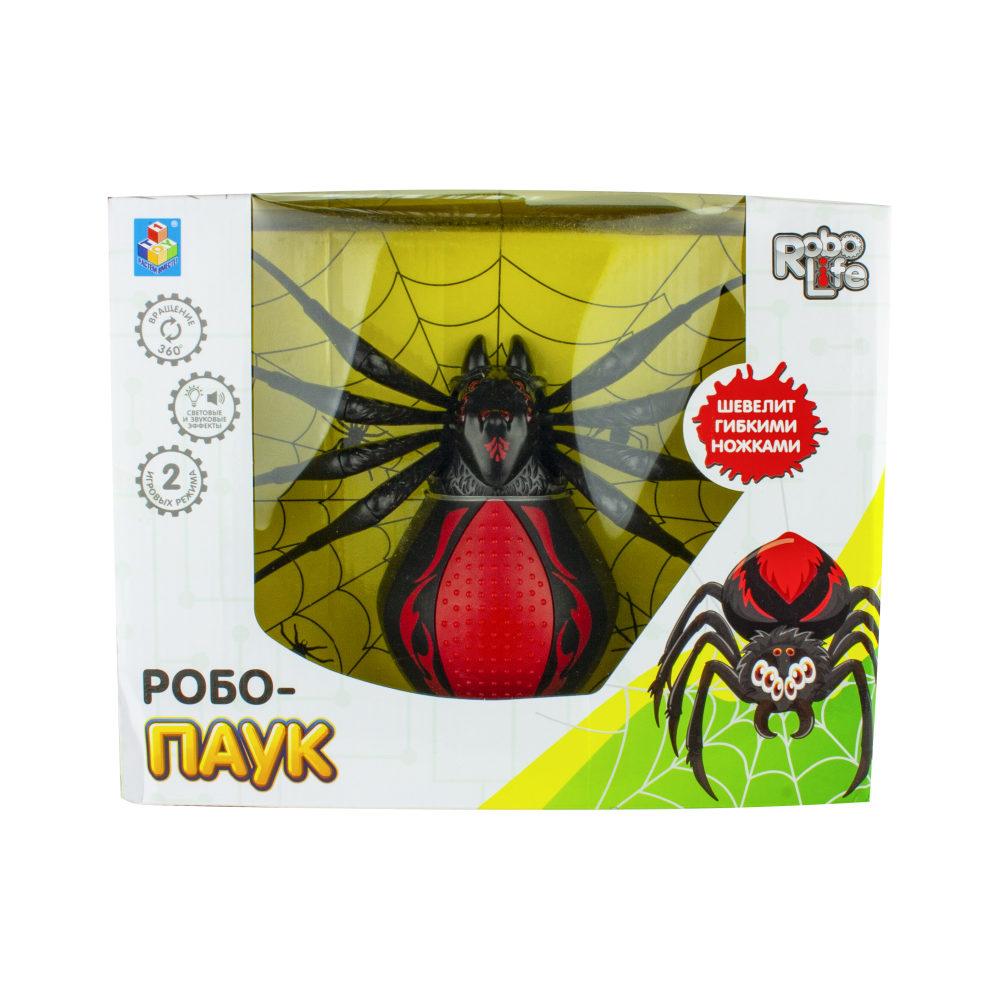1toy игрушка Робо-паук (свет, звук, движение), коробка 30*23*10 см, 3 *1,5 В АА (в комп не вход), черный-красный