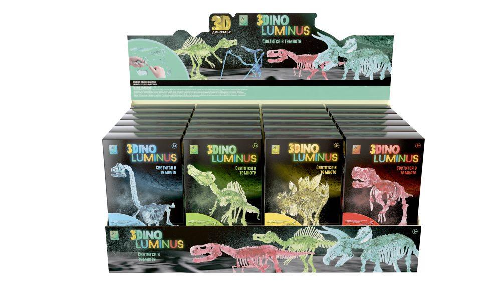 1toy 3DINO LUMINUS, люминисцентные динозавры, 6 видов, 24 шт/дисплей бокс