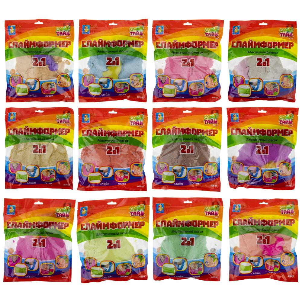СЛАЙМФОРМЕР 400 гр в пакете с европодвесом с 1 формочкой, 12 цветов в ассортименте без дисплей-бокса