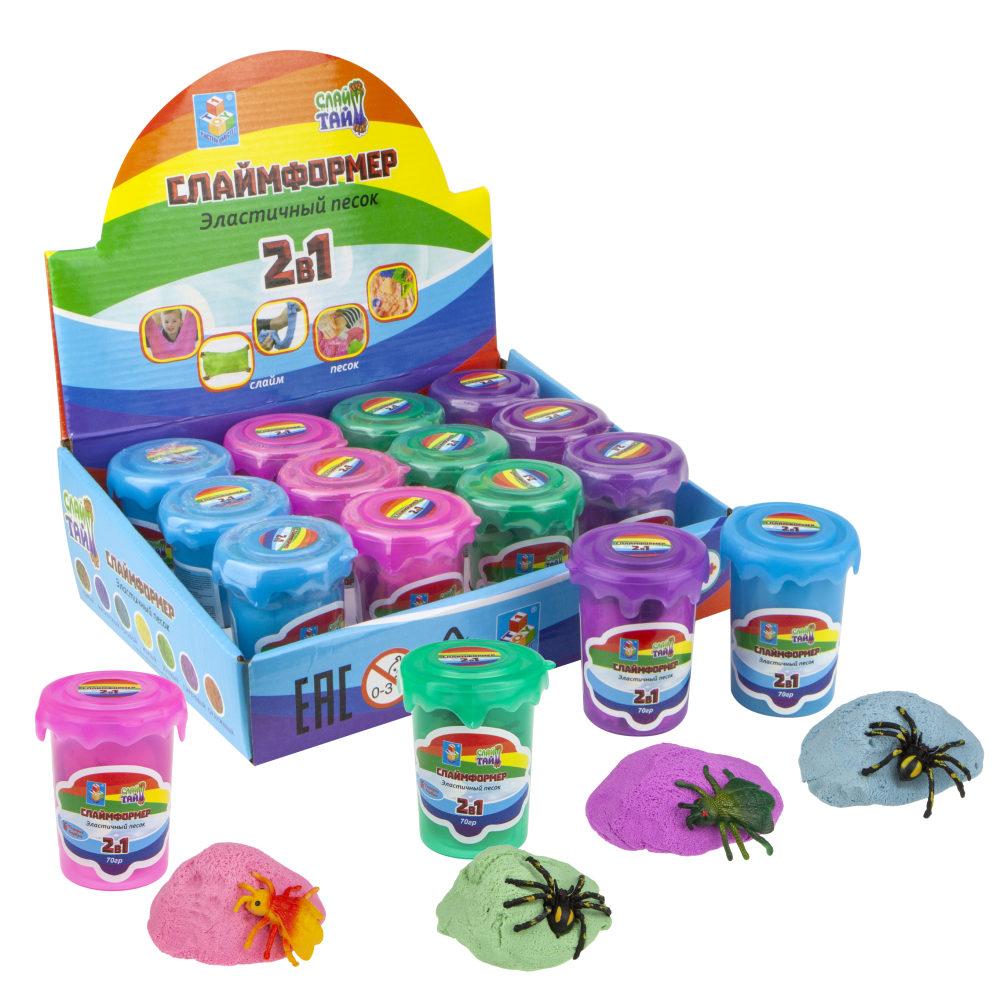 СЛАЙМФОРМЕР 70 гр в баночке с пауком или с мухой (без формочек) в дисплей-боксе, 4 цвета в ассортименте, 12 шт. в дисплей-боксе